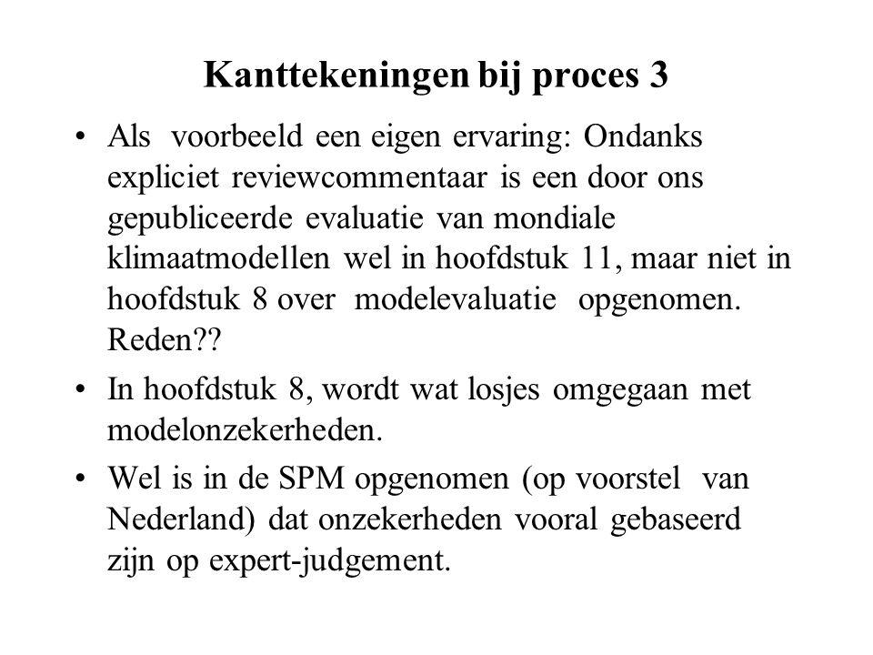 Kanttekeningen bij proces 3 Als voorbeeld een eigen ervaring: Ondanks expliciet reviewcommentaar is een door ons gepubliceerde evaluatie van mondiale klimaatmodellen wel in hoofdstuk 11, maar niet in hoofdstuk 8 over modelevaluatie opgenomen.