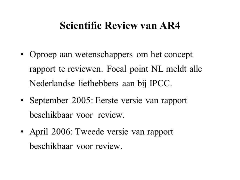 Scientific Review van AR4 Oproep aan wetenschappers om het concept rapport te reviewen.