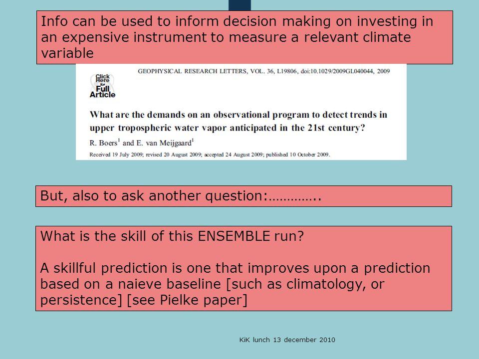 KiK lunch 13 december 2010 Proposition 6: Op het KNMI besteden we -te veel tijd aan het uitwerken van klimaatscenario's en -te weinig tijd aan de keten van meten naar weten