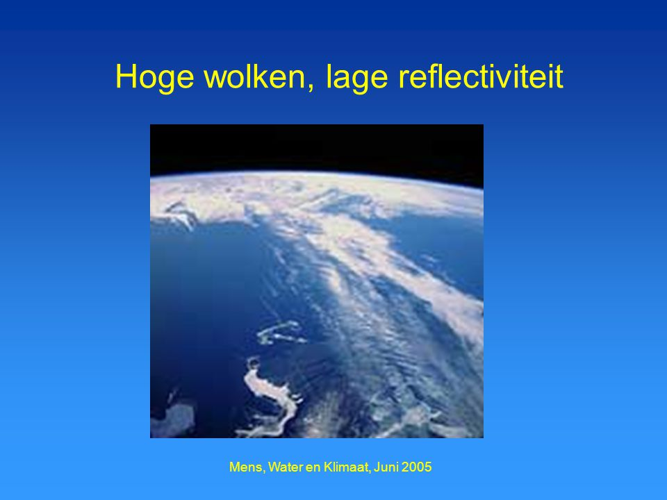 Mens, Water en Klimaat, Juni 2005 Hoge wolken, lage reflectiviteit