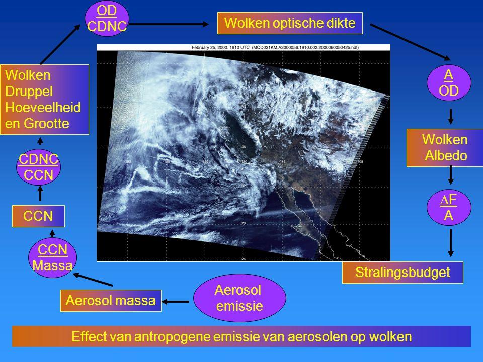 Mens, Water en Klimaat, Juni 2005 Effect van antropogene emissie van aerosolen op wolken Aerosol emissie Aerosol massa CCN Massa CCN CDNC CCN Wolken Druppel Hoeveelheid en Grootte OD CDNC Wolken optische dikte A OD Wolken Albedo Stralingsbudget FAFA