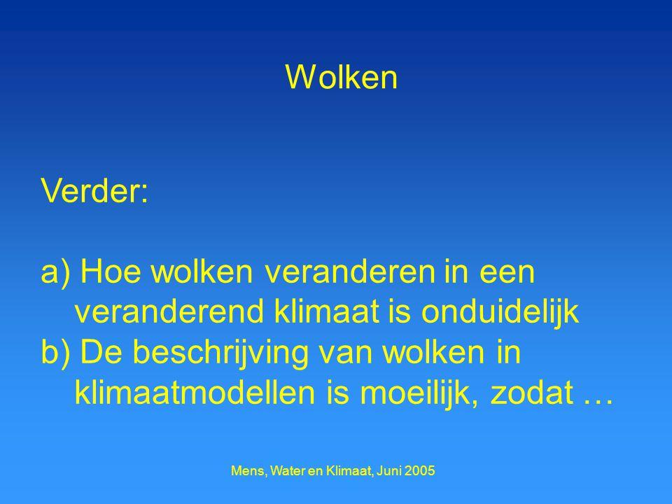 Mens, Water en Klimaat, Juni 2005 Wolken Verder: a) Hoe wolken veranderen in een veranderend klimaat is onduidelijk b) De beschrijving van wolken in klimaatmodellen is moeilijk, zodat …