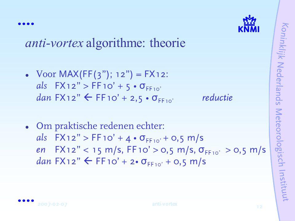 12 2007-02-07anti-vortex anti-vortex algorithme: theorie Voor MAX(FF(3 ); 12 ) = FX12 : als FX12 > FF10' + 5 σ FF10' dan FX12  FF10' + 2,5 σ FF10' reductie Om praktische redenen echter: als FX12 > FF10' + 4 σ FF10' + 0,5 m/s en FX12 0,5 m/s, σ FF10' > 0,5 m/s dan FX12  FF10' + 2 σ FF10' + 0,5 m/s
