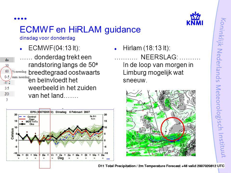 ECMWF en HiRLAM guidance dinsdag voor donderdag ECMWF(04:13 lt): …… donderdag trekt een randstoring langs de 50 e breedtegraad oostwaarts en beïnvloed