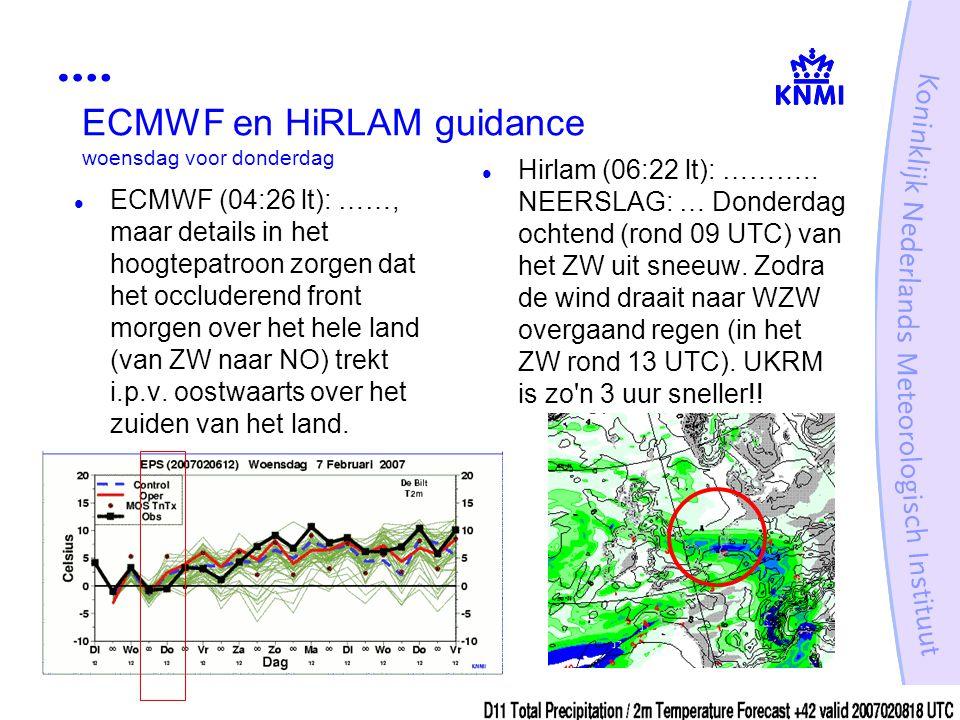 ECMWF en HiRLAM guidance woensdag voor donderdag ECMWF (04:26 lt): ……, maar details in het hoogtepatroon zorgen dat het occluderend front morgen over