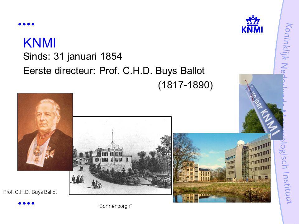"""KNMI Sinds: 31 januari 1854 Eerste directeur: Prof. C.H.D. Buys Ballot (1817-1890) Prof. C.H.D. Buys Ballot """"Sonnenborgh"""""""