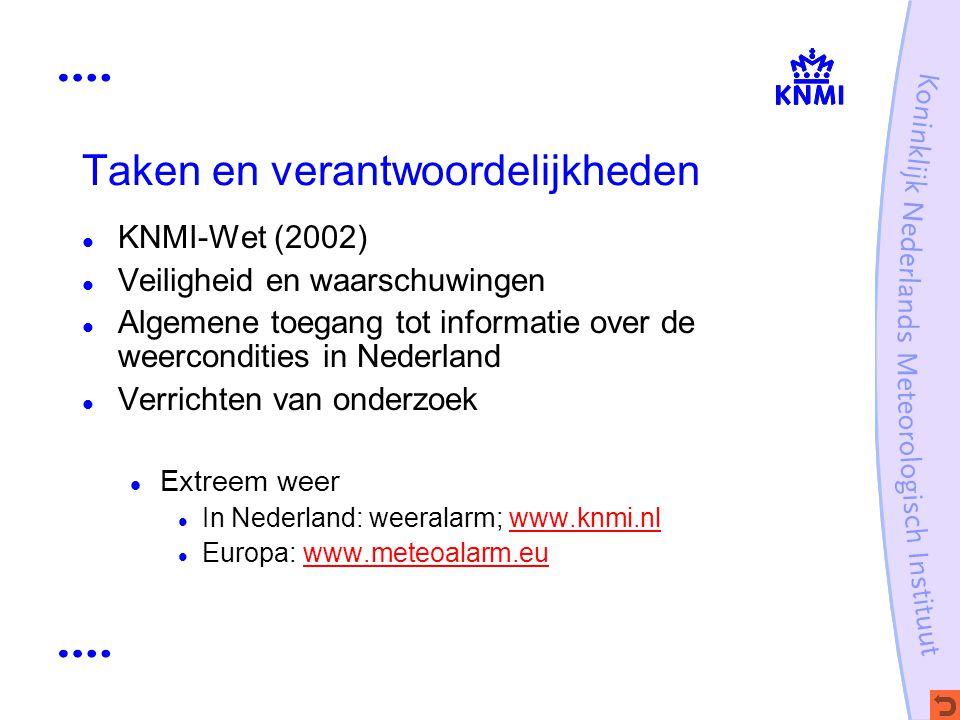Taken en verantwoordelijkheden KNMI-Wet (2002) Veiligheid en waarschuwingen Algemene toegang tot informatie over de weercondities in Nederland Verrich