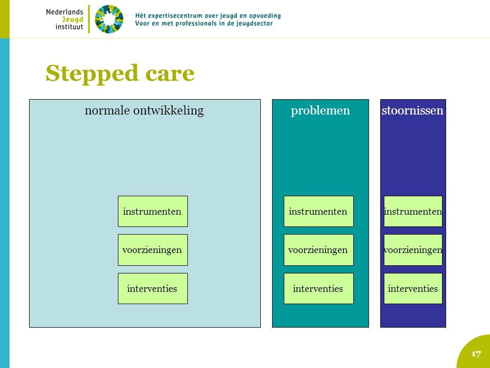 17 Stepped care normale ontwikkelingproblemenstoornissen interventies instrumenten voorzieningen instrumenten voorzieningen interventies instrumenten