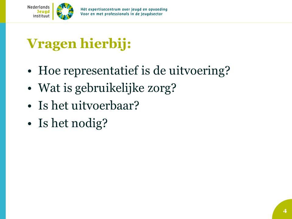 4 Vragen hierbij: Hoe representatief is de uitvoering? Wat is gebruikelijke zorg? Is het uitvoerbaar? Is het nodig?