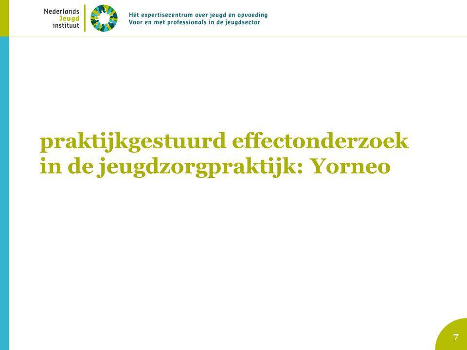 8 BJZ DrentheJeugdzorg Drenthe Formulieren Doel-realisatieEffectFormulierenDoel- Realisatie EffectTevreden- heid 1 Aanmelding 2 Analyseren Einddoelen Tussendoelen CBCL YSR NOSI 3.