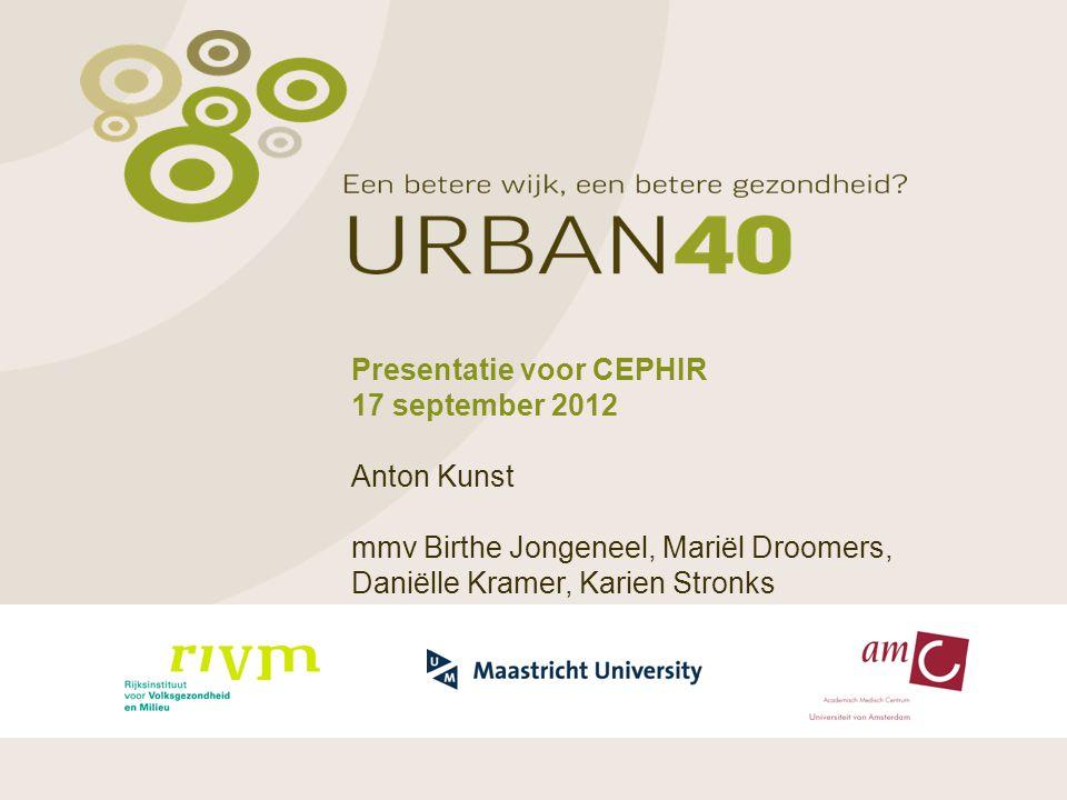 Presentatie voor CEPHIR 17 september 2012 Anton Kunst mmv Birthe Jongeneel, Mariël Droomers, Daniëlle Kramer, Karien Stronks