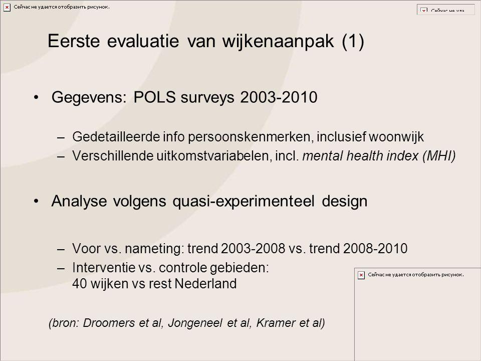 Eerste evaluatie van wijkenaanpak (1) Gegevens: POLS surveys 2003-2010 –Gedetailleerde info persoonskenmerken, inclusief woonwijk –Verschillende uitko