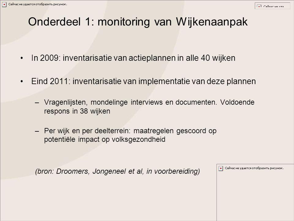 Onderdeel 1: monitoring van Wijkenaanpak In 2009: inventarisatie van actieplannen in alle 40 wijken Eind 2011: inventarisatie van implementatie van de