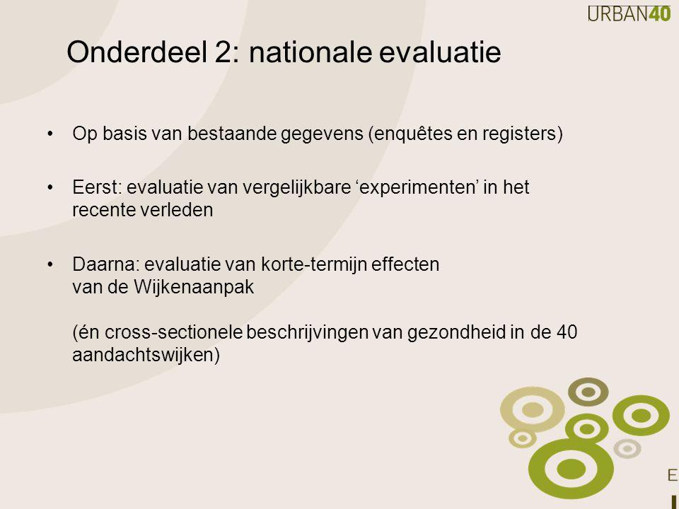 Onderdeel 2: nationale evaluatie Op basis van bestaande gegevens (enquêtes en registers) Eerst: evaluatie van vergelijkbare 'experimenten' in het rece