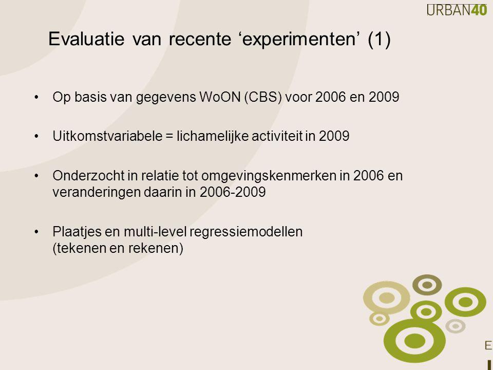 Evaluatie van recente 'experimenten' (1) Op basis van gegevens WoON (CBS) voor 2006 en 2009 Uitkomstvariabele = lichamelijke activiteit in 2009 Onderz