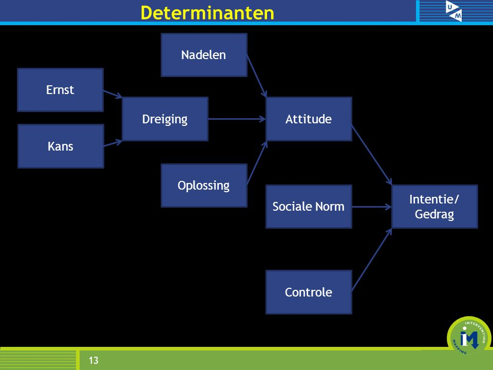 Determinanten 13 Sociale Norm Attitude Controle Oplossing Kans Ernst Intentie/ Gedrag Dreiging Nadelen