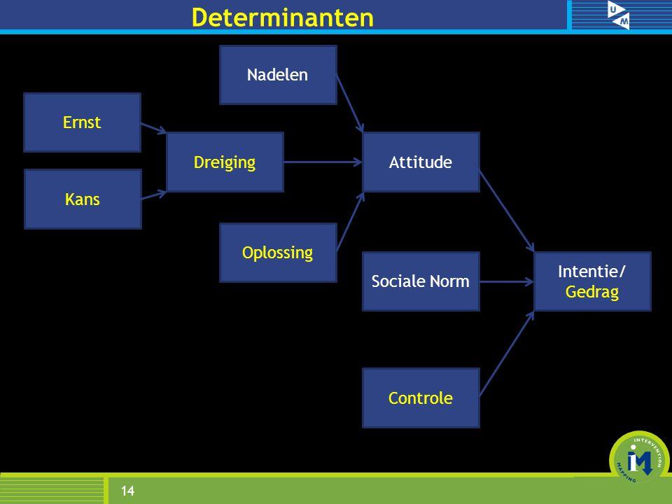 Determinanten 14 Sociale Norm Attitude Controle Oplossing Kans Ernst Intentie/ Gedrag Dreiging Nadelen