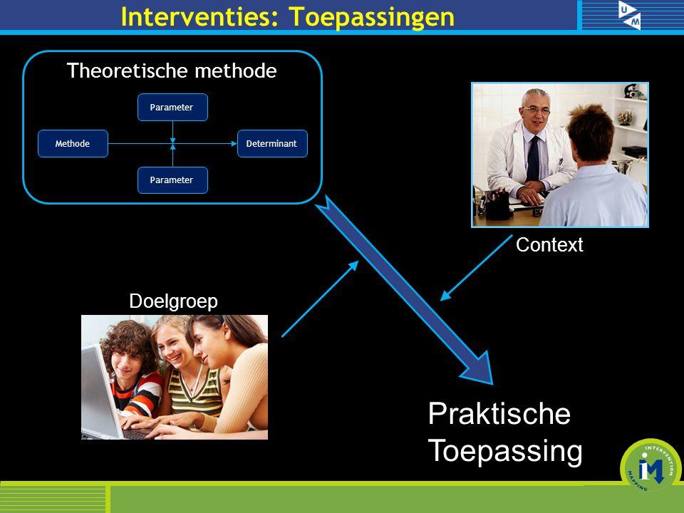 Methode Determinant Parameter Theoretische methode Praktische Toepassing Doelgroep Context Interventies: Toepassingen