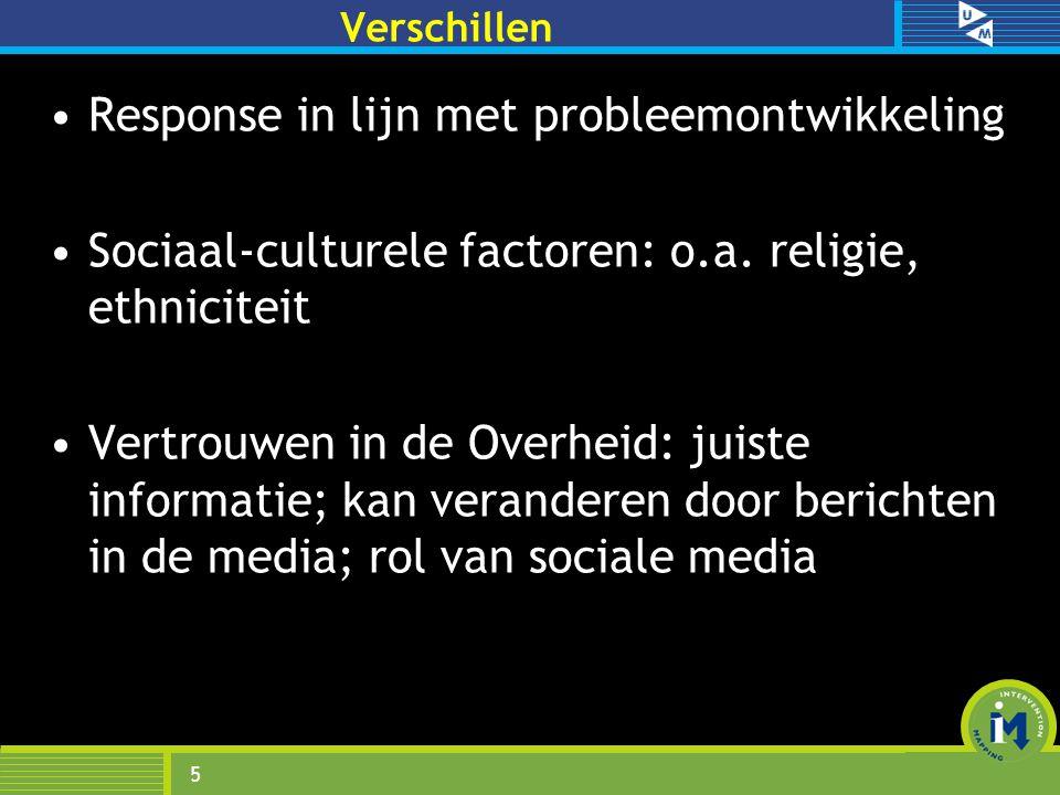 Verschillen Response in lijn met probleemontwikkeling Sociaal-culturele factoren: o.a. religie, ethniciteit Vertrouwen in de Overheid: juiste informat