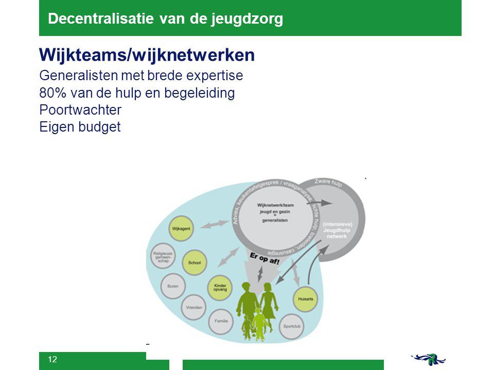 12 Decentralisatie van de jeugdzorg Wijkteams/wijknetwerken Generalisten met brede expertise 80% van de hulp en begeleiding Poortwachter Eigen budget