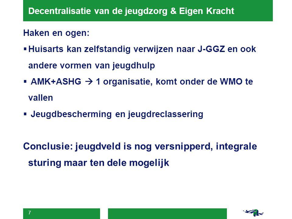 7 Decentralisatie van de jeugdzorg & Eigen Kracht Haken en ogen:  Huisarts kan zelfstandig verwijzen naar J-GGZ en ook andere vormen van jeugdhulp 