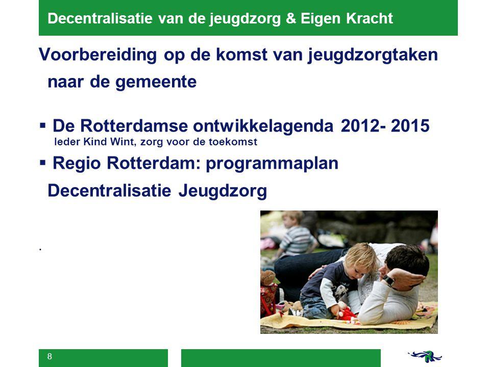 8 Decentralisatie van de jeugdzorg & Eigen Kracht Voorbereiding op de komst van jeugdzorgtaken naar de gemeente  De Rotterdamse ontwikkelagenda 2012-