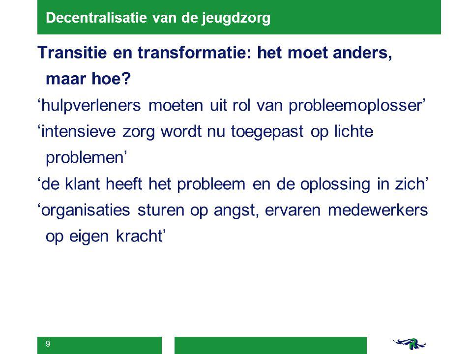 9 Decentralisatie van de jeugdzorg Transitie en transformatie: het moet anders, maar hoe? 'hulpverleners moeten uit rol van probleemoplosser' 'intensi