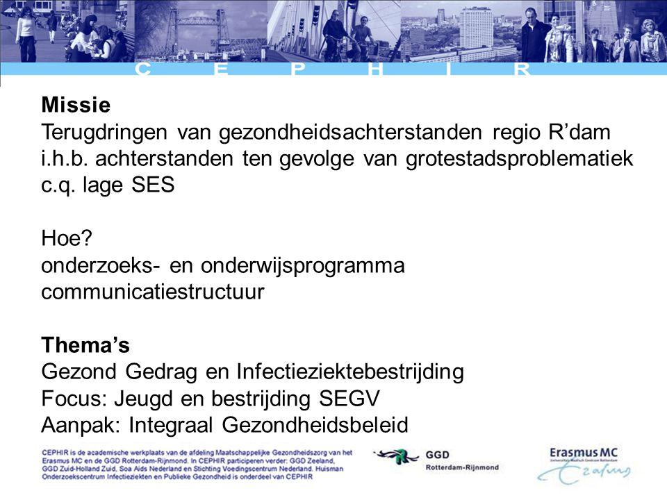 Missie Terugdringen van gezondheidsachterstanden regio R'dam i.h.b.