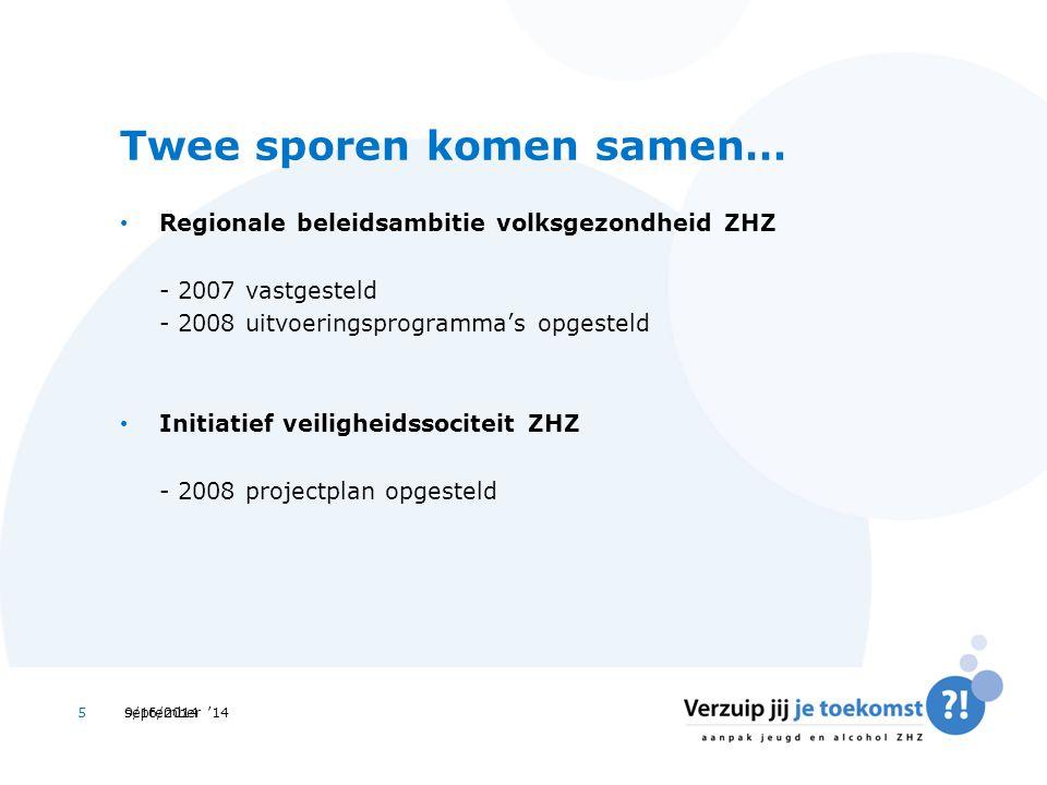 september '145 Twee sporen komen samen… Regionale beleidsambitie volksgezondheid ZHZ - 2007 vastgesteld - 2008 uitvoeringsprogramma's opgesteld Initiatief veiligheidssociteit ZHZ - 2008 projectplan opgesteld 9/16/2014