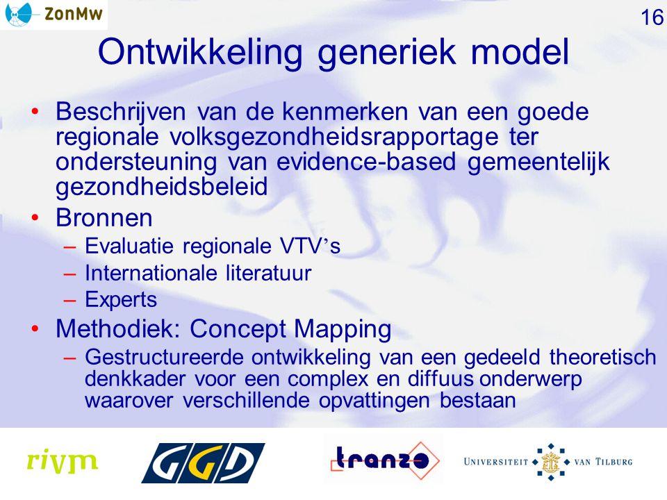 Ontwikkeling generiek model Beschrijven van de kenmerken van een goede regionale volksgezondheidsrapportage ter ondersteuning van evidence-based gemeentelijk gezondheidsbeleid Bronnen –Evaluatie regionale VTV ' s –Internationale literatuur –Experts Methodiek: Concept Mapping –Gestructureerde ontwikkeling van een gedeeld theoretisch denkkader voor een complex en diffuus onderwerp waarover verschillende opvattingen bestaan 16