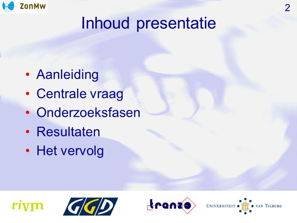 Inhoud presentatie Aanleiding Centrale vraag Onderzoeksfasen Resultaten Het vervolg 2