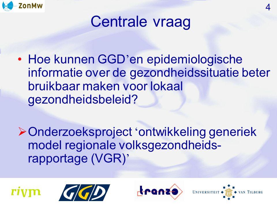 Centrale vraag Hoe kunnen GGD ' en epidemiologische informatie over de gezondheidssituatie beter bruikbaar maken voor lokaal gezondheidsbeleid.