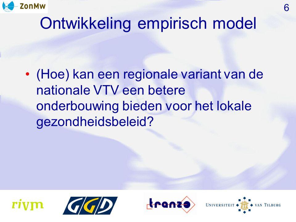 Ontwikkeling empirisch model (Hoe) kan een regionale variant van de nationale VTV een betere onderbouwing bieden voor het lokale gezondheidsbeleid? 6