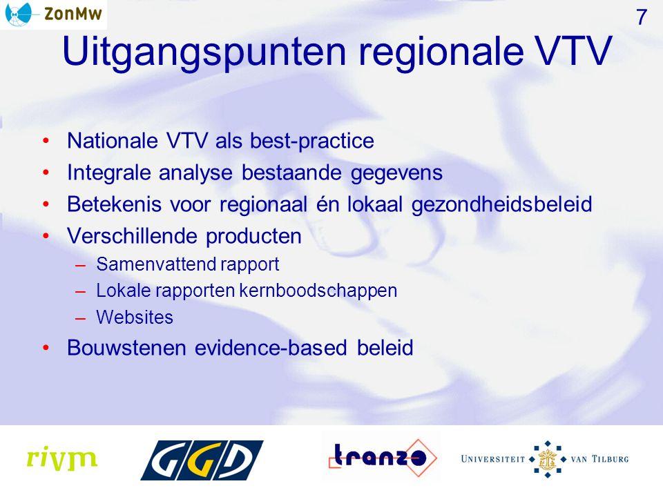 Uitgangspunten regionale VTV Nationale VTV als best-practice Integrale analyse bestaande gegevens Betekenis voor regionaal én lokaal gezondheidsbeleid