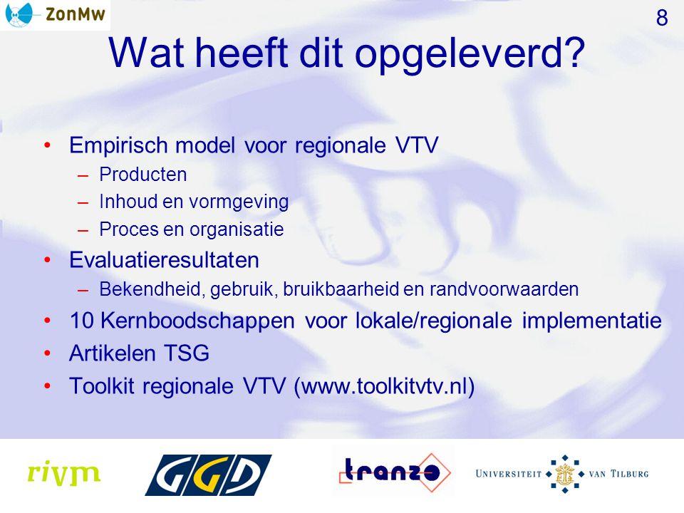 Wat heeft dit opgeleverd? Empirisch model voor regionale VTV –Producten –Inhoud en vormgeving –Proces en organisatie Evaluatieresultaten –Bekendheid,
