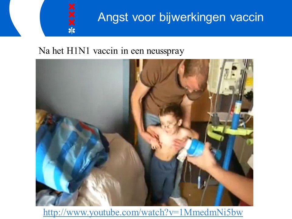 Angst voor bijwerkingen vaccin http://www.youtube.com/watch?v=1MmedmNi5bw Na het H1N1 vaccin in een neusspray