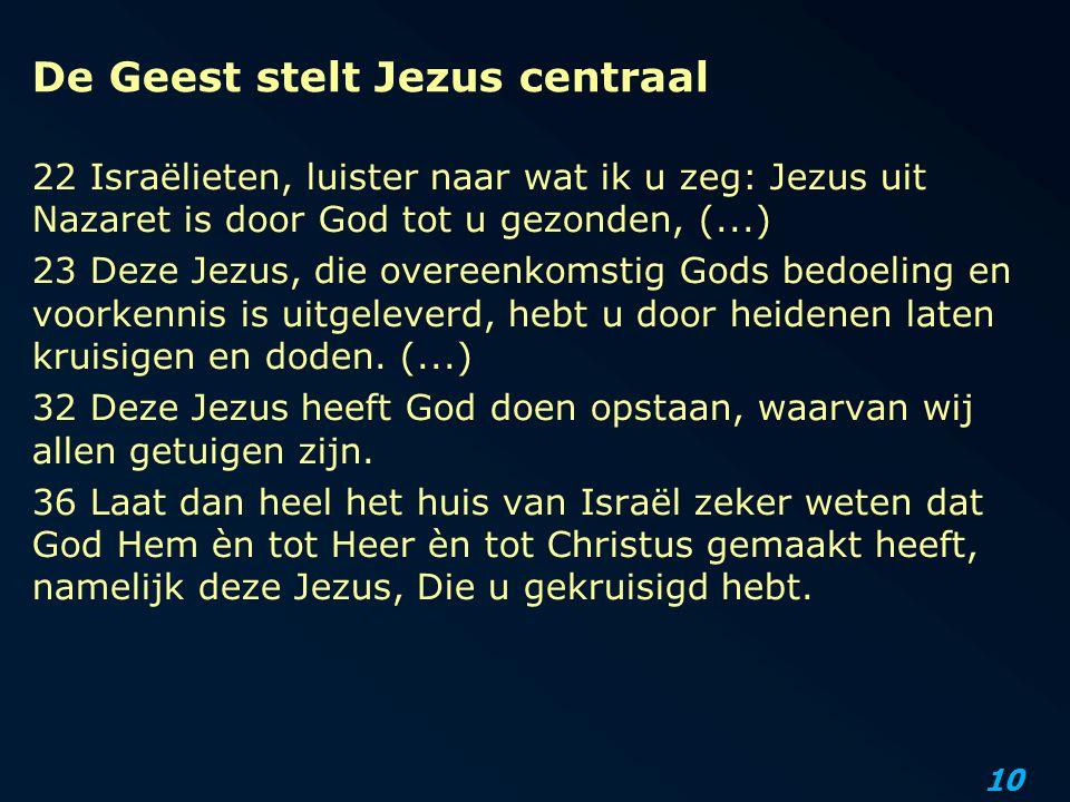 10 De Geest stelt Jezus centraal 22 Israëlieten, luister naar wat ik u zeg: Jezus uit Nazaret is door God tot u gezonden, (...) 23 Deze Jezus, die ove