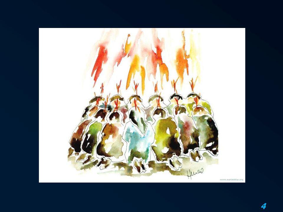5 De Geest maakt één 2 En plotseling kwam er uit de hemel een geluid als van een geweldige windvlaag en dat vervulde heel het huis waar zij zaten.