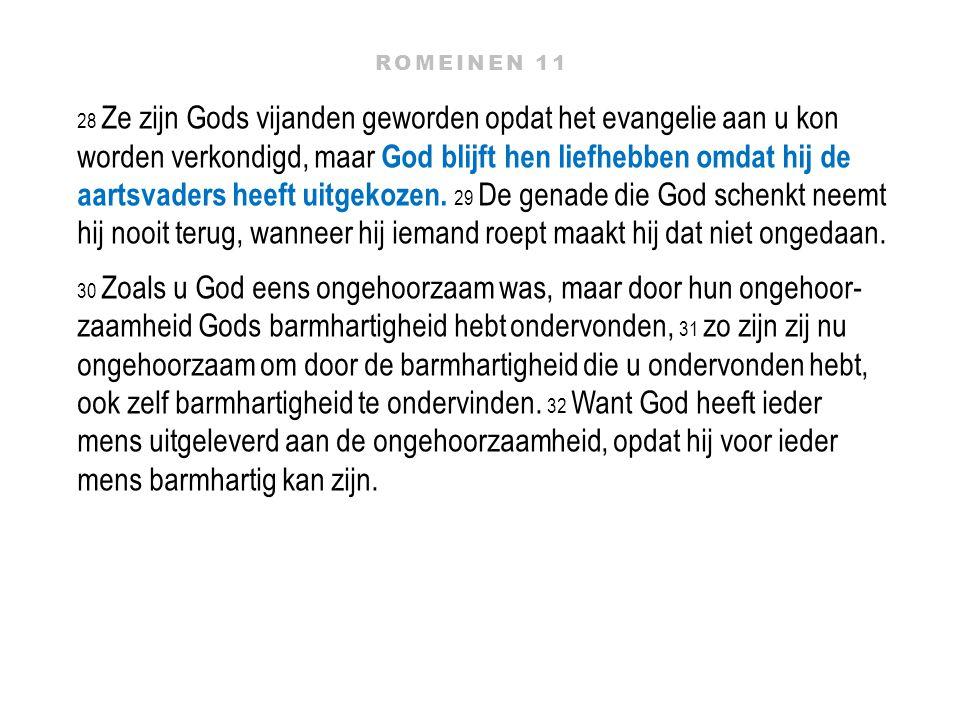28 Ze zijn Gods vijanden geworden opdat het evangelie aan u kon worden verkondigd, maar God blijft hen liefhebben omdat hij de aartsvaders heeft uitge