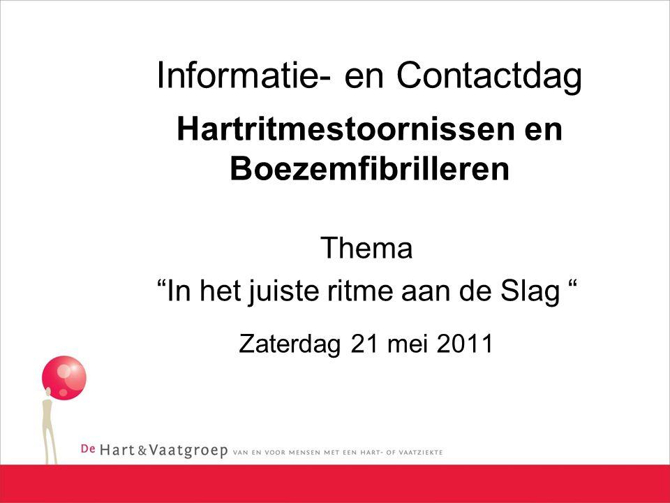 Informatie- en Contactdag Hartritmestoornissen en Boezemfibrilleren Thema In het juiste ritme aan de Slag Zaterdag 21 mei 2011