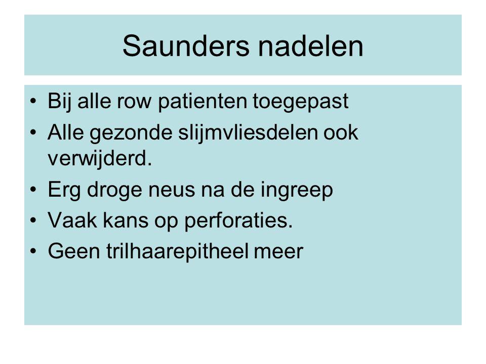 Saunders nadelen Bij alle row patienten toegepast Alle gezonde slijmvliesdelen ook verwijderd. Erg droge neus na de ingreep Vaak kans op perforaties.