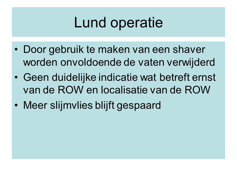 Door gebruik te maken van een shaver worden onvoldoende de vaten verwijderd Geen duidelijke indicatie wat betreft ernst van de ROW en localisatie van