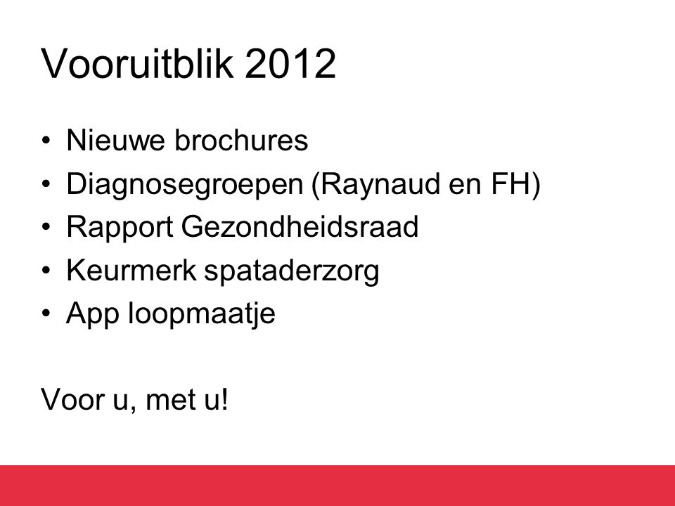 Vooruitblik 2012 Nieuwe brochures Diagnosegroepen (Raynaud en FH) Rapport Gezondheidsraad Keurmerk spataderzorg App loopmaatje Voor u, met u!