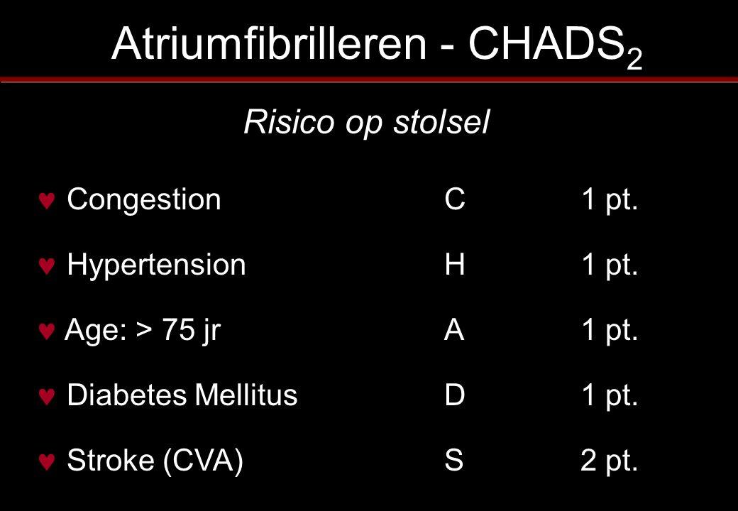 Atriumfibrilleren - CHADS 2 Congestion C1 pt. Hypertension H1 pt. Age: > 75 jrA1 pt. Diabetes MellitusD1 pt. Stroke (CVA)S2 pt. Risico op stolsel