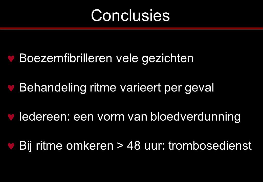 Conclusies Boezemfibrilleren vele gezichten Behandeling ritme varieert per geval Iedereen: een vorm van bloedverdunning Bij ritme omkeren > 48 uur: tr