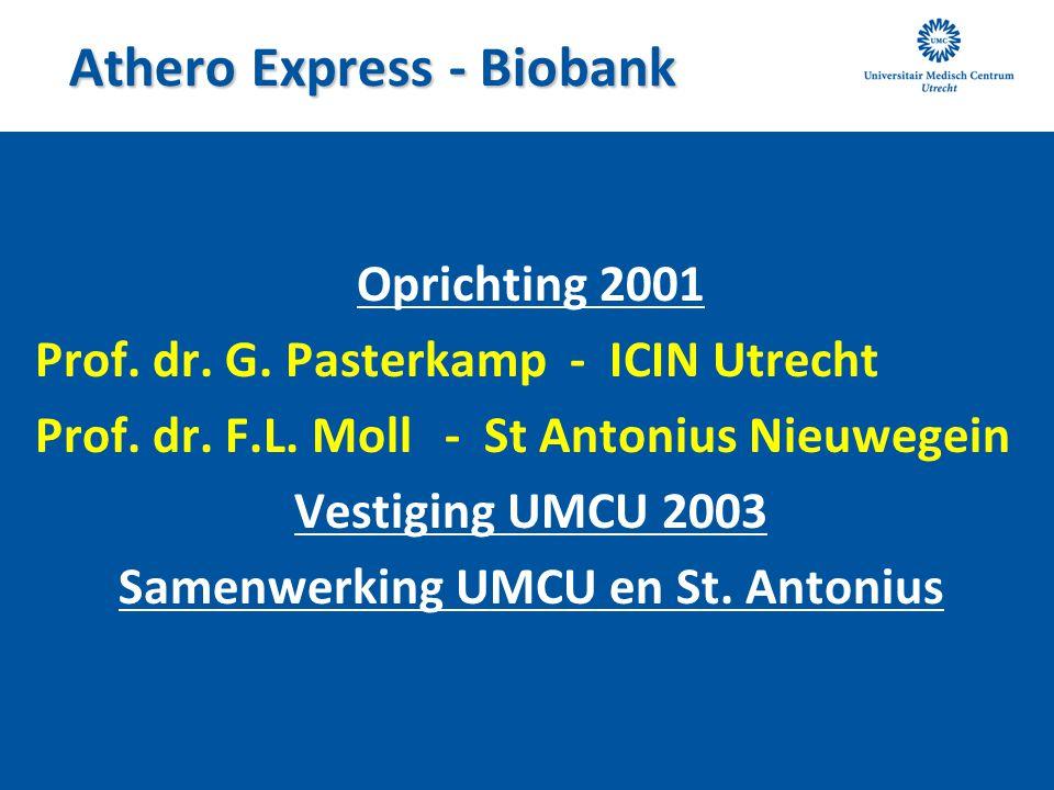 Athero Express - Biobank Oprichting 2001 Prof. dr. G. Pasterkamp - ICIN Utrecht Prof. dr. F.L. Moll - St Antonius Nieuwegein Vestiging UMCU 2003 Samen