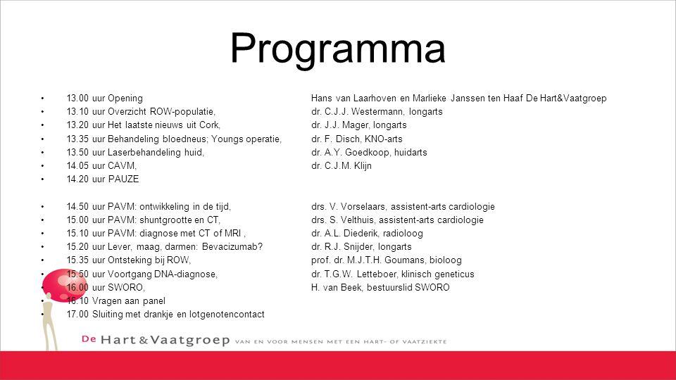 Programma 13.00 uur Opening Hans van Laarhoven en Marlieke Janssen ten Haaf De Hart&Vaatgroep 13.10 uur Overzicht ROW-populatie, dr. C.J.J. Westermann