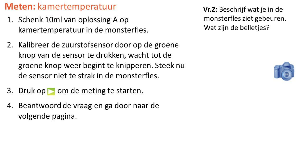 Vr.2: Beschrijf wat je in de monsterfles ziet gebeuren. Wat zijn de belletjes? Meten: kamertemperatuur 1.Schenk 10ml van oplossing A op kamertemperatu
