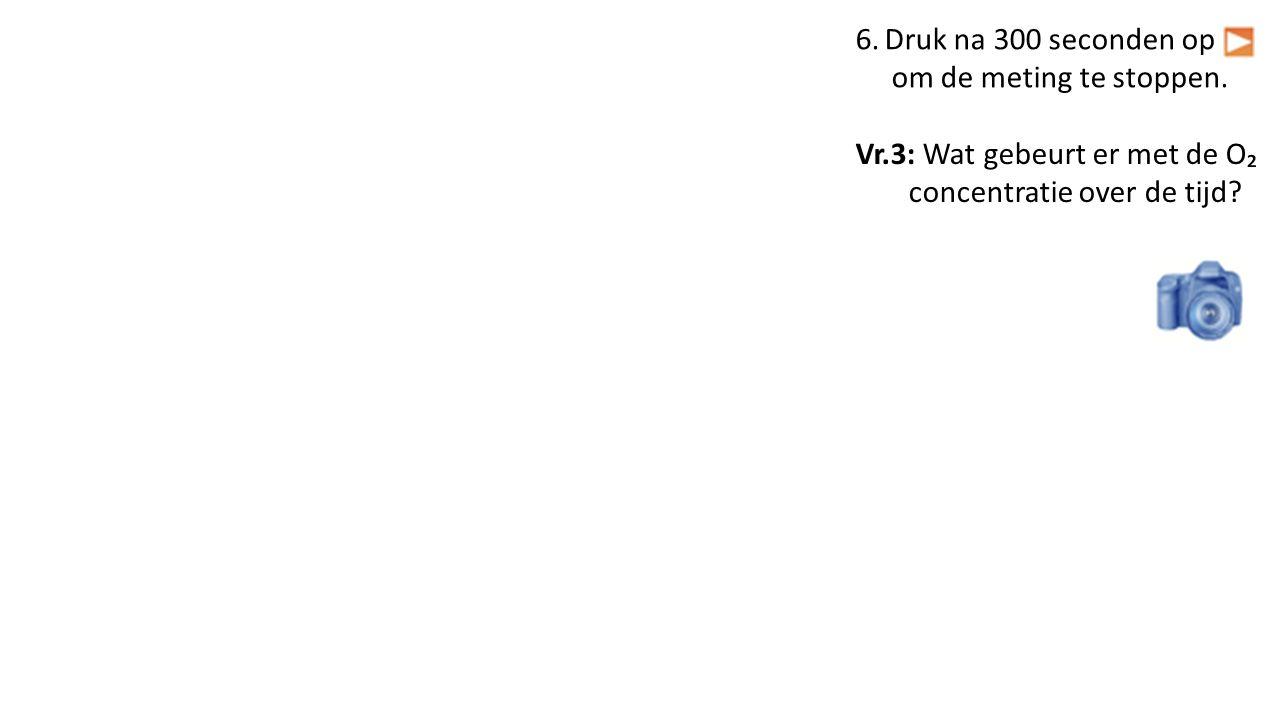 6.Druk na 300 seconden op om de meting te stoppen. Vr.3: Wat gebeurt er met de O₂ concentratie over de tijd?