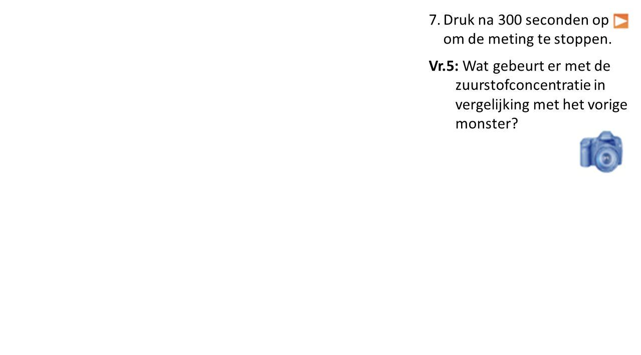 7.Druk na 300 seconden op om de meting te stoppen. Vr.5: Wat gebeurt er met de zuurstofconcentratie in vergelijking met het vorige monster?